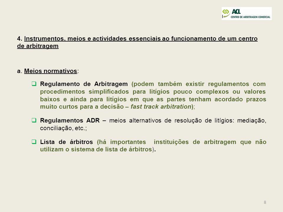 4. Instrumentos, meios e actividades essenciais ao funcionamento de um centro de arbitragem