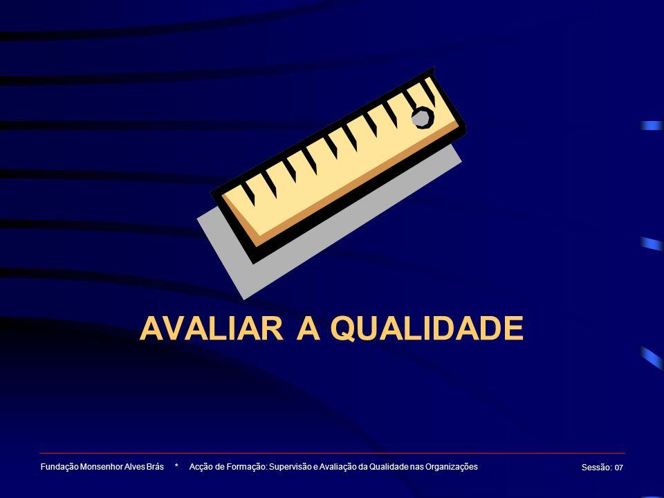 AVALIAR A QUALIDADE Fundação Monsenhor Alves Brás * Acção de Formação: Supervisão e Avaliação da Qualidade nas Organizações.