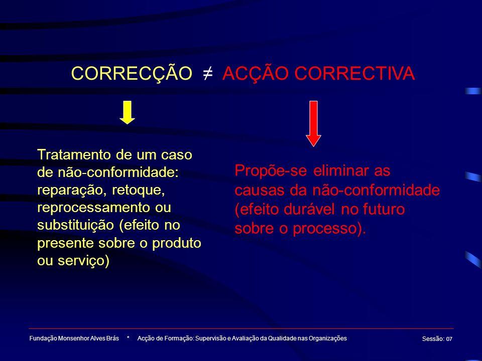 CORRECÇÃO ≠ ACÇÃO CORRECTIVA