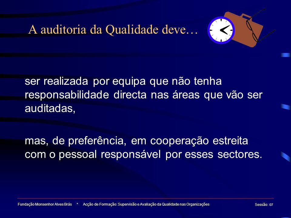 A auditoria da Qualidade deve…