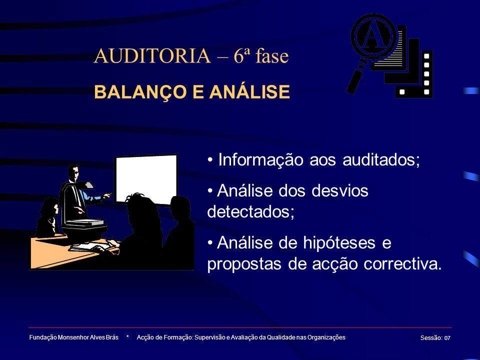 AUDITORIA – 6ª fase BALANÇO E ANÁLISE Informação aos auditados;