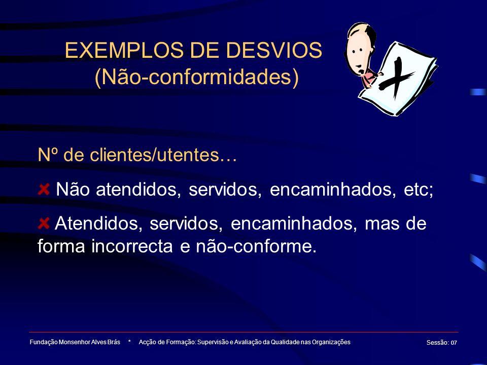 EXEMPLOS DE DESVIOS (Não-conformidades)