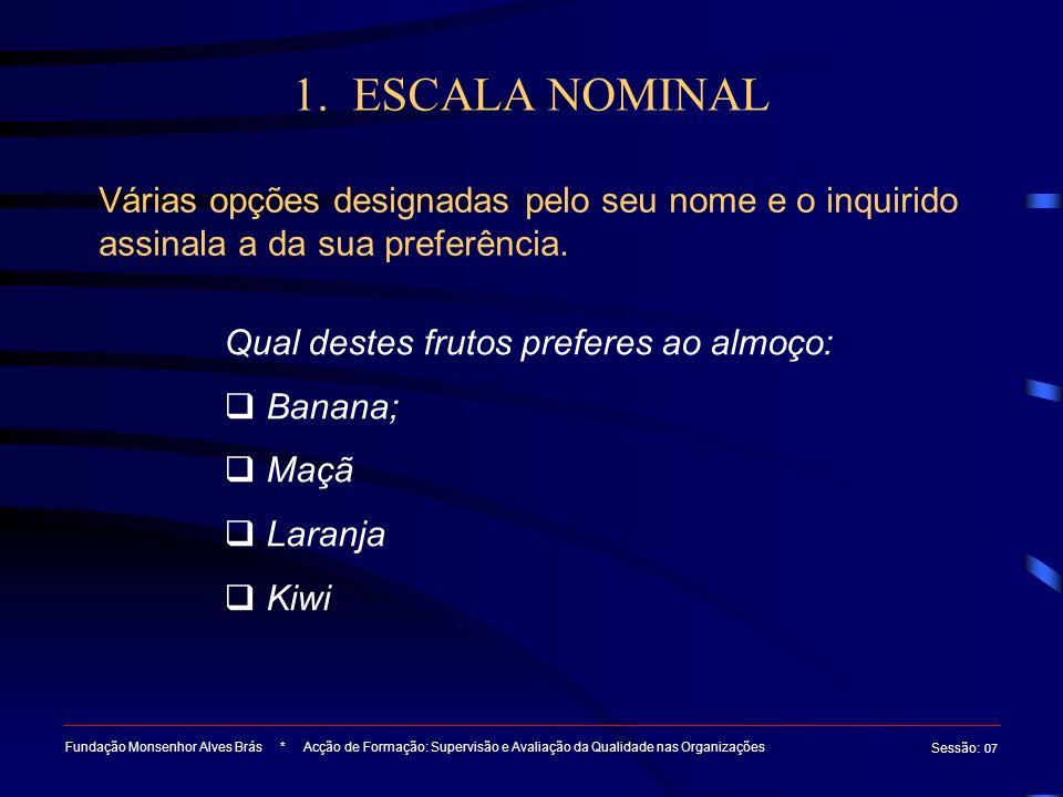 1. ESCALA NOMINAL Várias opções designadas pelo seu nome e o inquirido assinala a da sua preferência.