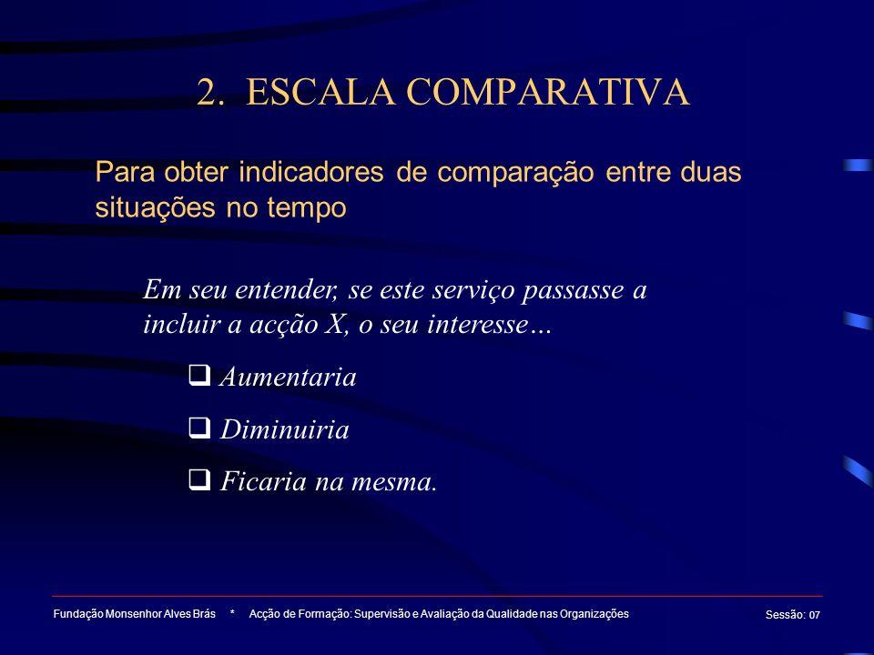 2. ESCALA COMPARATIVA Para obter indicadores de comparação entre duas situações no tempo.