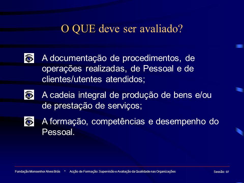 O QUE deve ser avaliado A documentação de procedimentos, de operações realizadas, de Pessoal e de clientes/utentes atendidos;