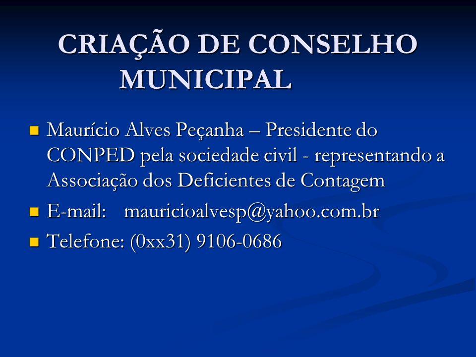CRIAÇÃO DE CONSELHO MUNICIPAL
