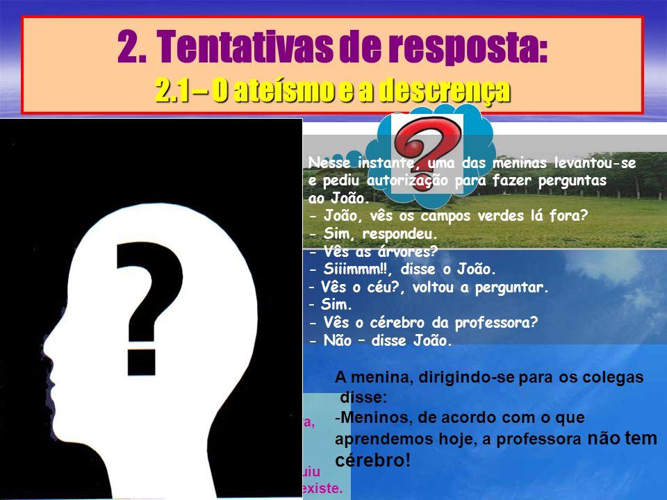 2. Tentativas de resposta: 2.1 – O ateísmo e a descrença