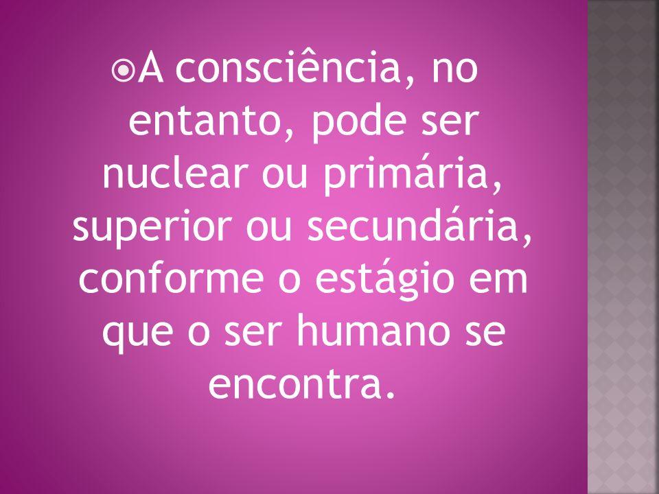 A consciência, no entanto, pode ser nuclear ou primária, superior ou secundária, conforme o estágio em que o ser humano se encontra.