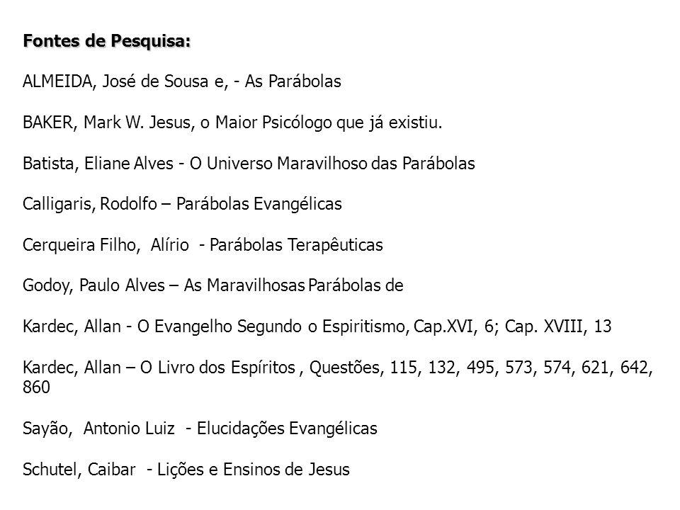 Fontes de Pesquisa: ALMEIDA, José de Sousa e, - As Parábolas. BAKER, Mark W. Jesus, o Maior Psicólogo que já existiu.