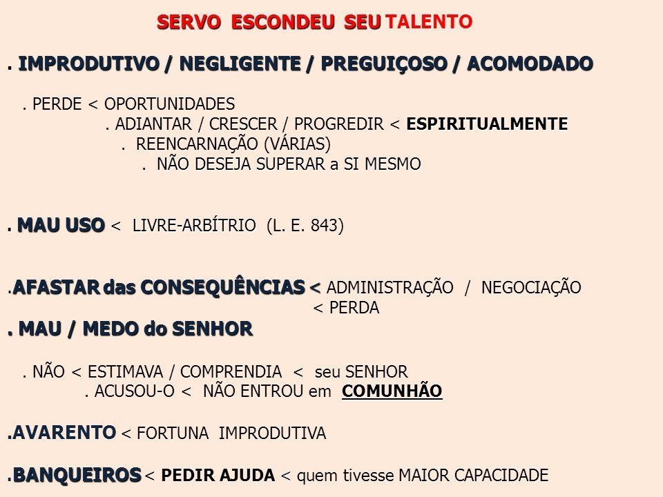 . IMPRODUTIVO / NEGLIGENTE / PREGUIÇOSO / ACOMODADO