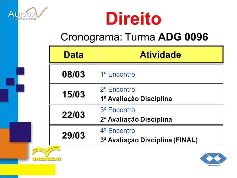 Direito Cronograma: Turma ADG 0096 Data Atividade 08/03 15/03 22/03