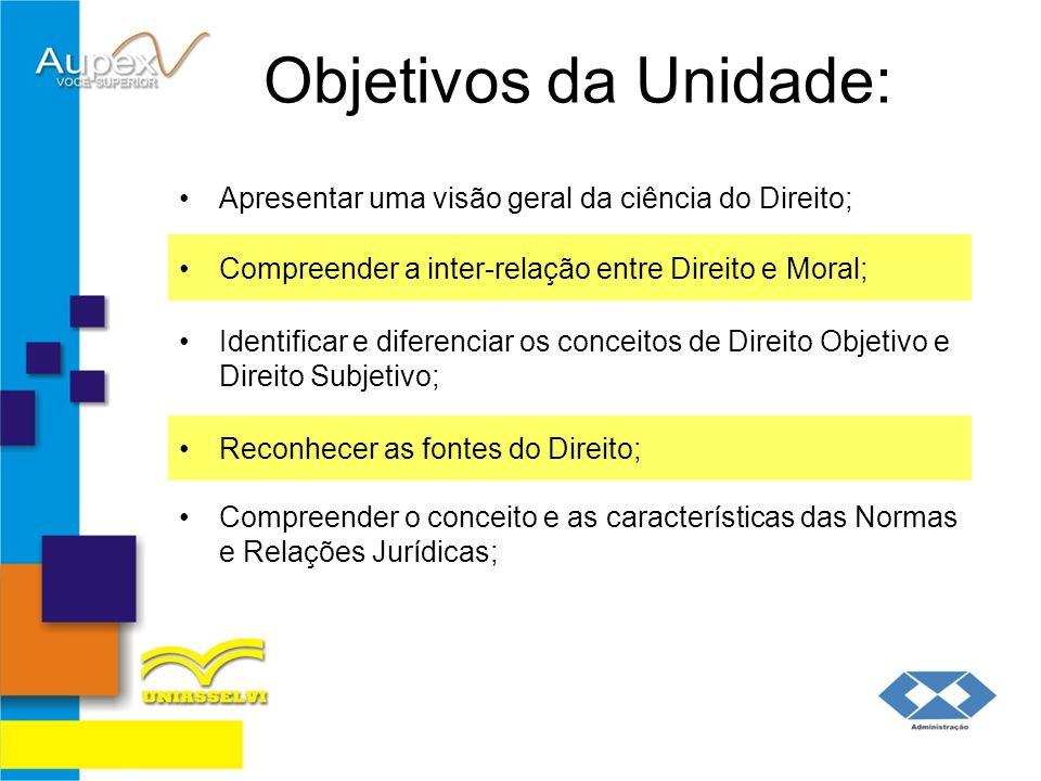 Objetivos da Unidade:Apresentar uma visão geral da ciência do Direito; Compreender a inter-relação entre Direito e Moral;