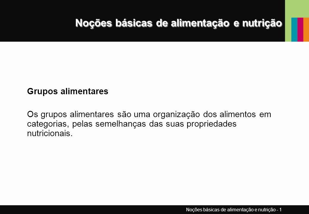 Noções básicas de alimentação e nutrição