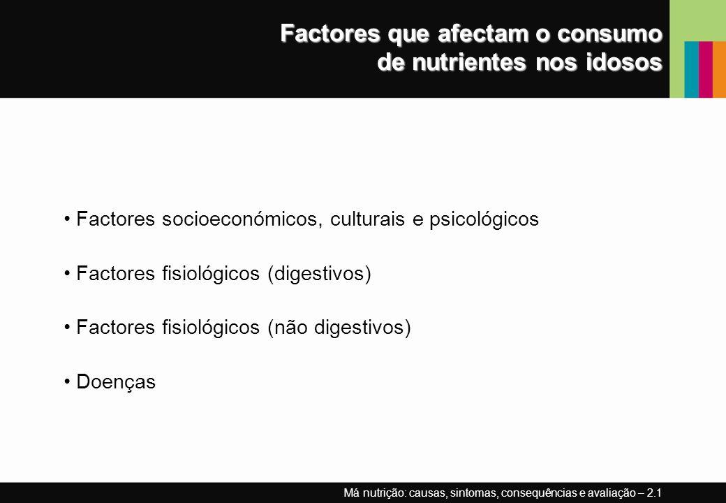 Factores que afectam o consumo de nutrientes nos idosos