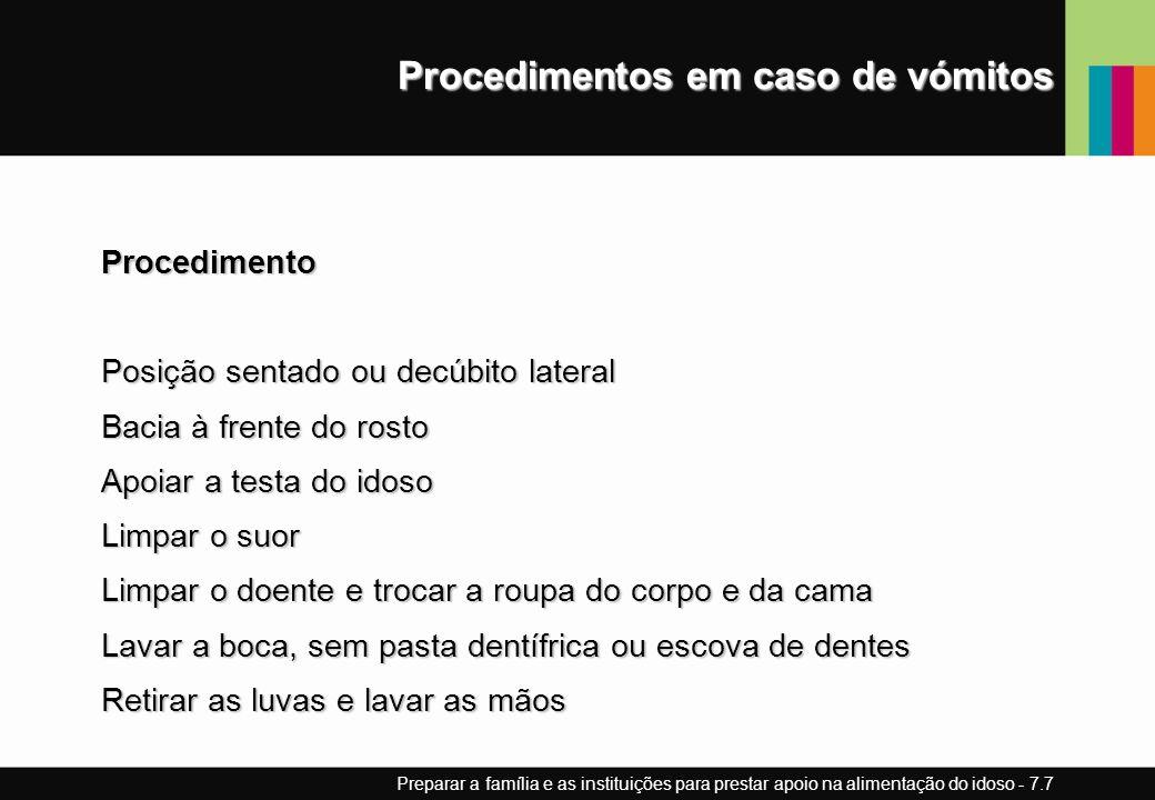 Procedimentos em caso de vómitos