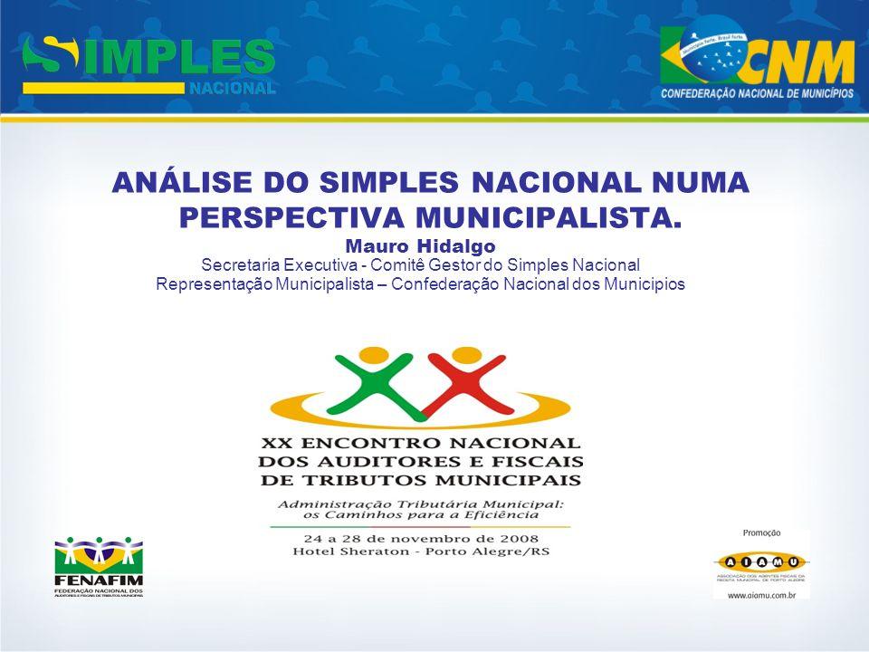 ANÁLISE DO SIMPLES NACIONAL NUMA PERSPECTIVA MUNICIPALISTA.