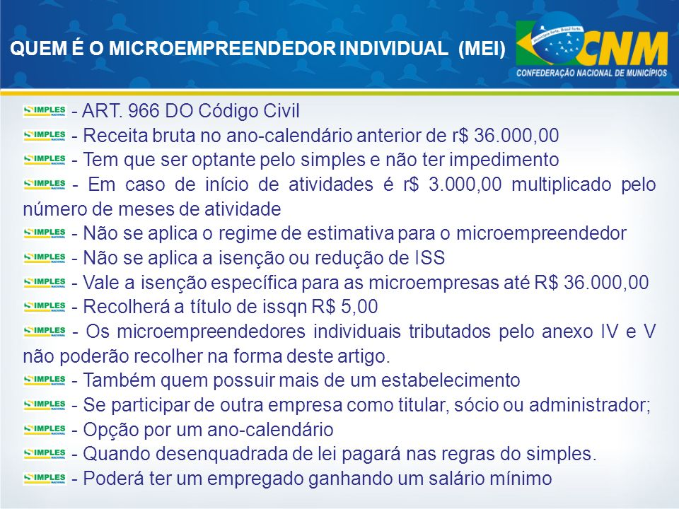 QUEM É O MICROEMPREENDEDOR INDIVIDUAL (MEI)