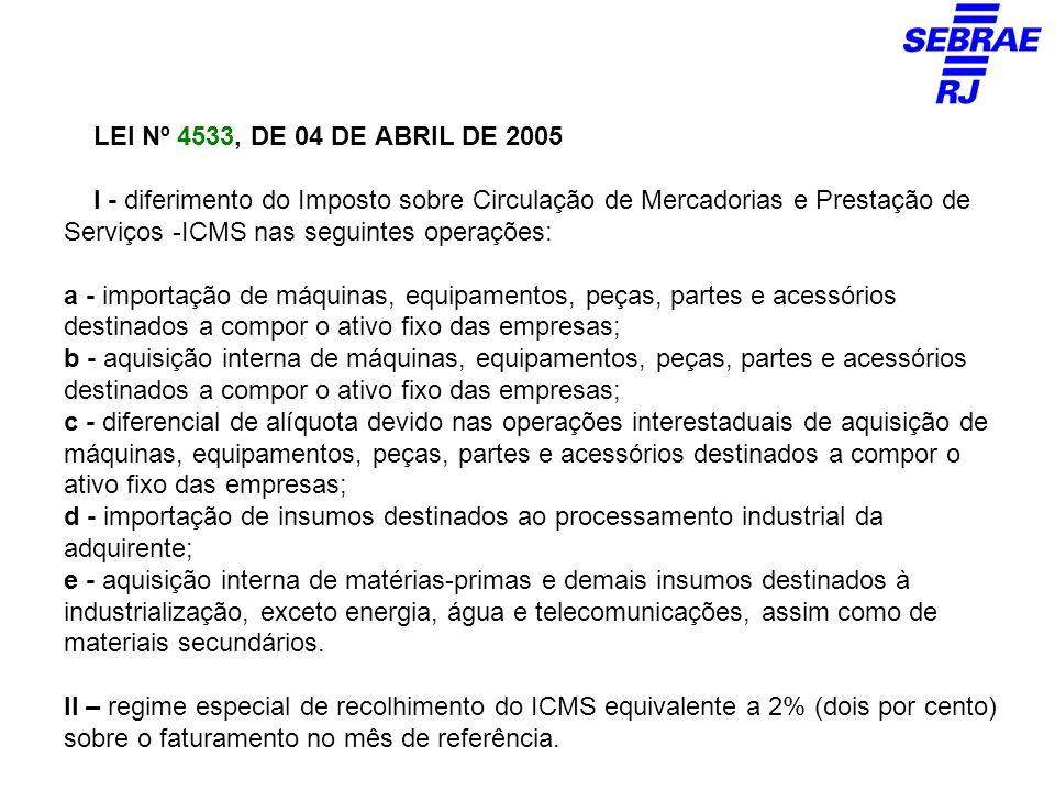 LEI Nº 4533, DE 04 DE ABRIL DE 2005