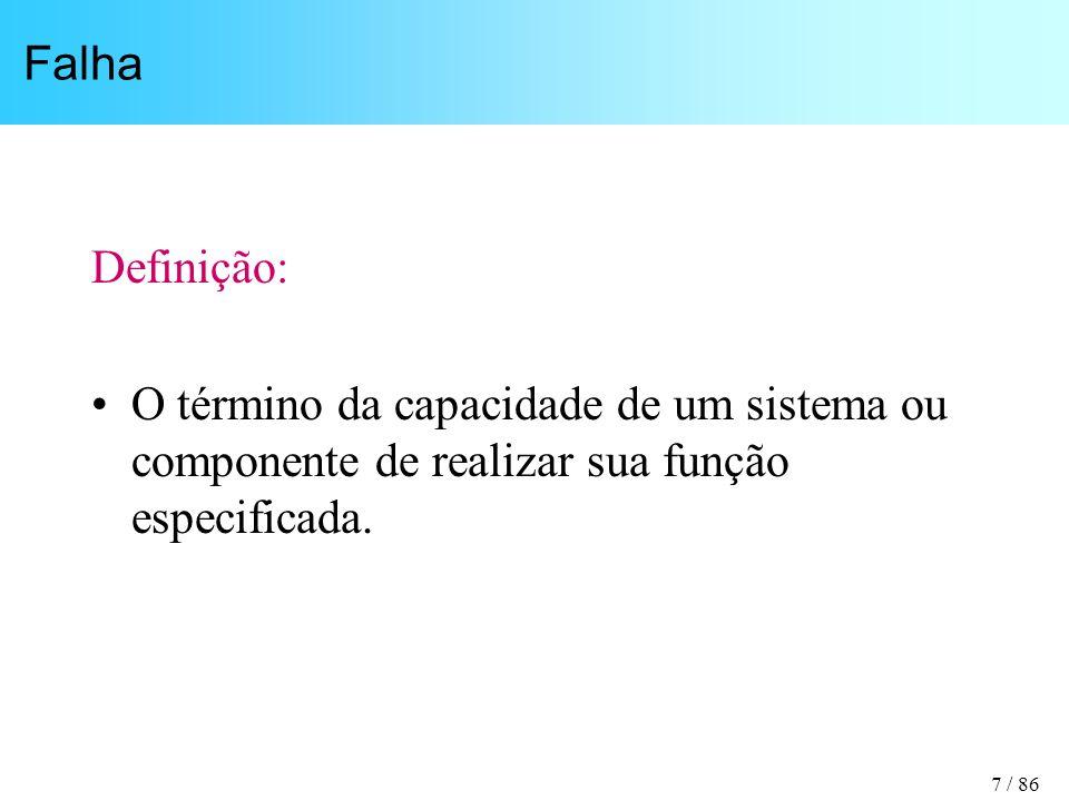 Falha Definição: O término da capacidade de um sistema ou componente de realizar sua função especificada.