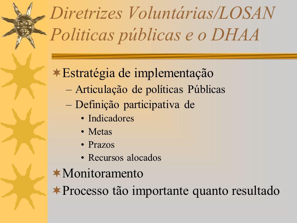 Diretrizes Voluntárias/LOSAN Politicas públicas e o DHAA