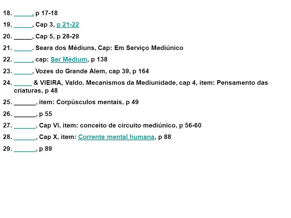 _____, p 17-18 _____, Cap 3, p 21-22. _____, Cap 5, p 28-29. _____. Seara dos Médiuns, Cap: Em Serviço Mediúnico.