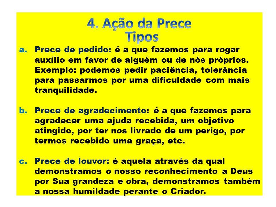 4. Ação da Prece Tipos.