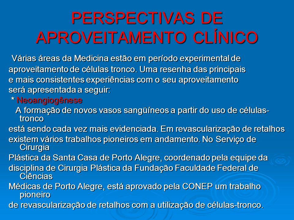 PERSPECTIVAS DE APROVEITAMENTO CLÍNICO