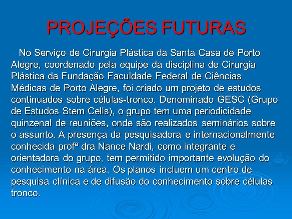 PROJEÇÕES FUTURAS No Serviço de Cirurgia Plástica da Santa Casa de Porto. Alegre, coordenado pela equipe da disciplina de Cirurgia.