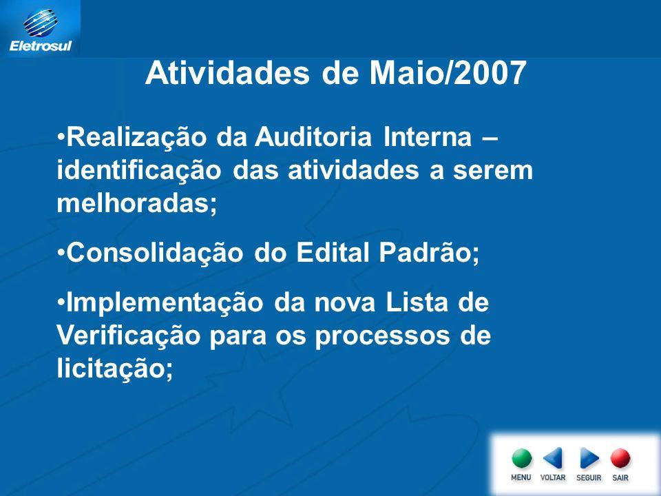 Atividades de Maio/2007 Realização da Auditoria Interna – identificação das atividades a serem melhoradas;