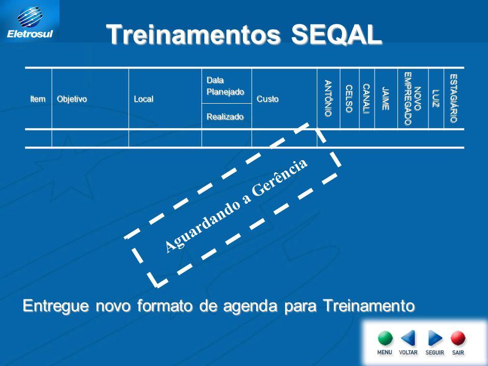 Treinamentos SEQAL Entregue novo formato de agenda para Treinamento