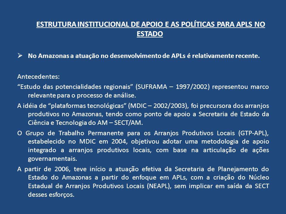 ESTRUTURA INSTITUCIONAL DE APOIO E AS POLÍTICAS PARA APLS NO ESTADO