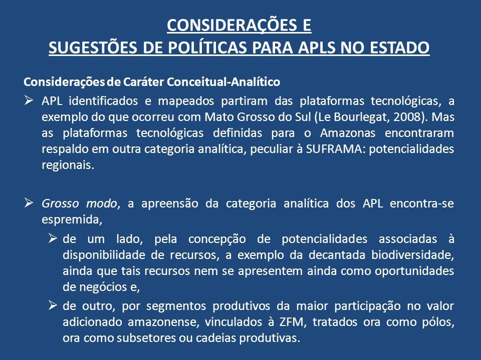 CONSIDERAÇÕES E SUGESTÕES DE POLÍTICAS PARA APLS NO ESTADO