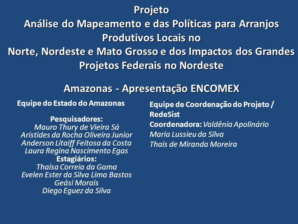 Projeto Análise do Mapeamento e das Políticas para Arranjos Produtivos Locais no Norte, Nordeste e Mato Grosso e dos Impactos dos Grandes Projetos Federais no Nordeste Amazonas - Apresentação ENCOMEX