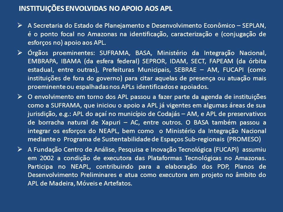 INSTITUIÇÕES ENVOLVIDAS NO APOIO AOS APL