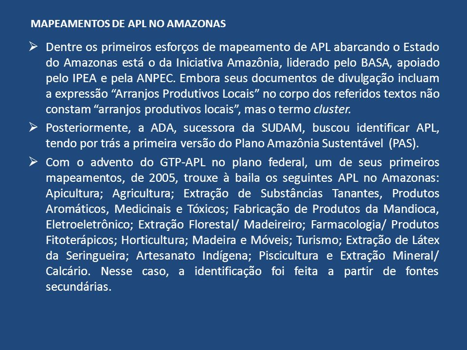 MAPEAMENTOS DE APL NO AMAZONAS