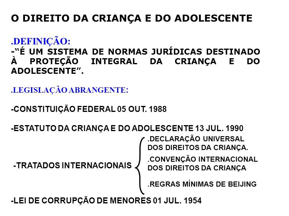 O DIREITO DA CRIANÇA E DO ADOLESCENTE .DEFINIÇÃO: