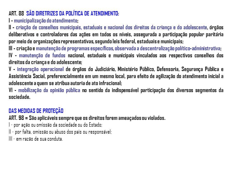 ART. 88 SÃO DIRETRIZES DA POLÍTICA DE ATENDIMENTO: