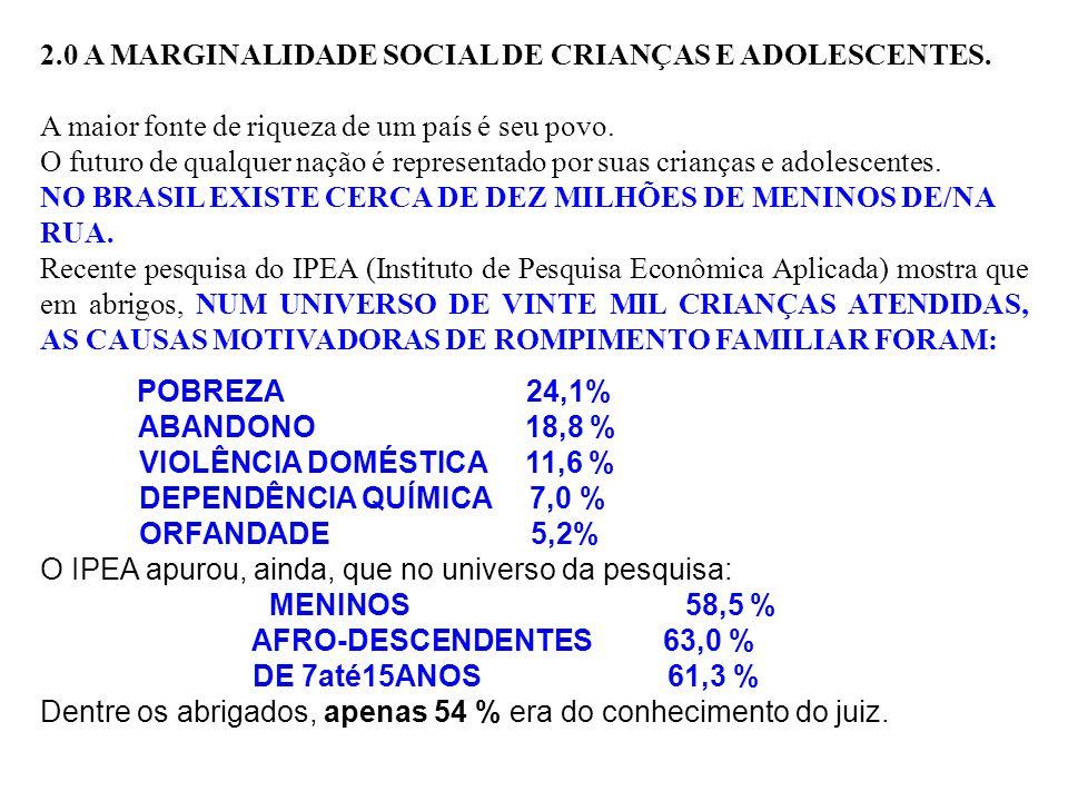 2.0 A MARGINALIDADE SOCIAL DE CRIANÇAS E ADOLESCENTES.