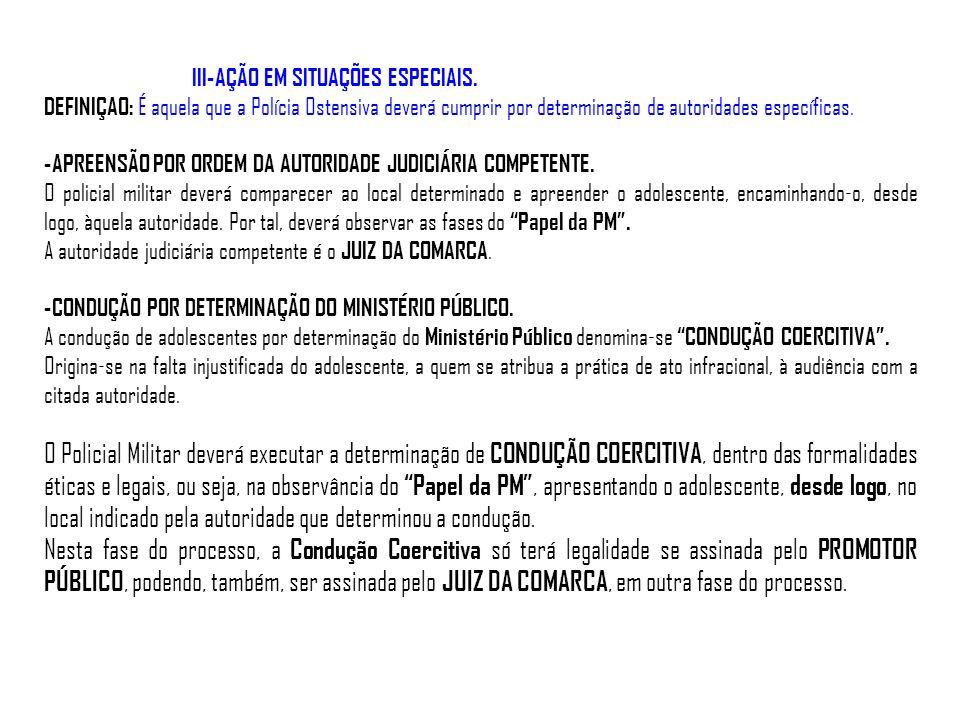 III-AÇÃO EM SITUAÇÕES ESPECIAIS.