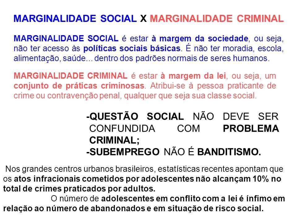 -QUESTÃO SOCIAL NÃO DEVE SER CONFUNDIDA COM PROBLEMA CRIMINAL;