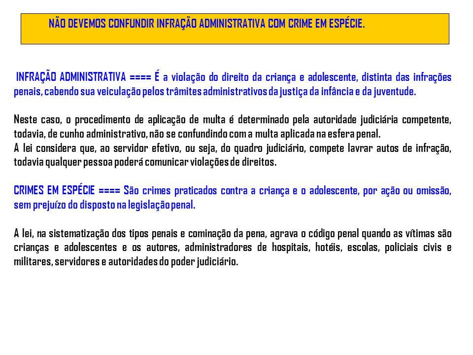 NÃO DEVEMOS CONFUNDIR INFRAÇÃO ADMINISTRATIVA COM CRIME EM ESPÉCIE.