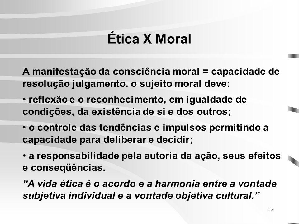 Ética X Moral A manifestação da consciência moral = capacidade de resolução julgamento. o sujeito moral deve: