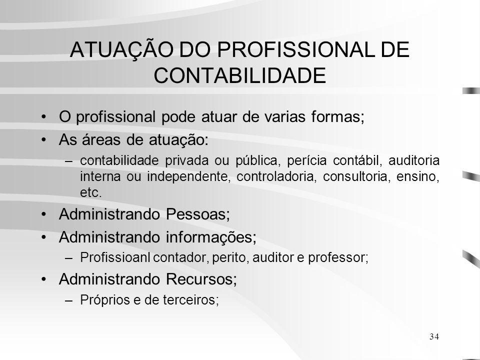 ATUAÇÃO DO PROFISSIONAL DE CONTABILIDADE