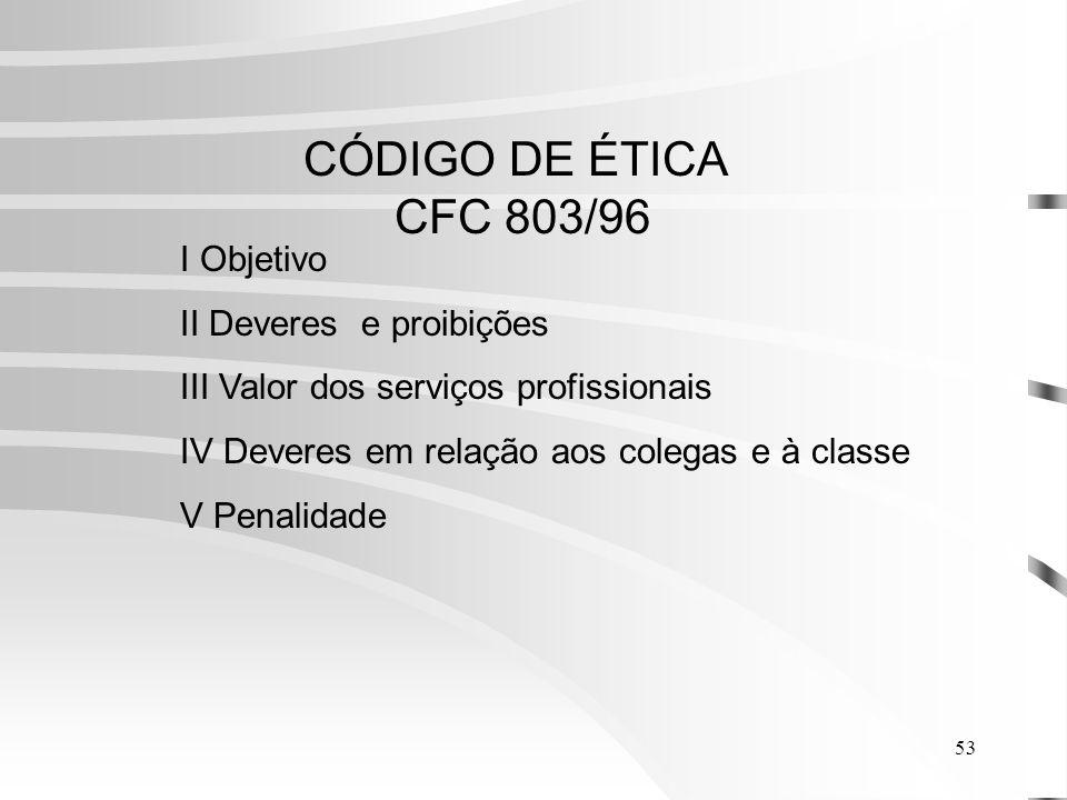 CÓDIGO DE ÉTICA CFC 803/96 I Objetivo II Deveres e proibições