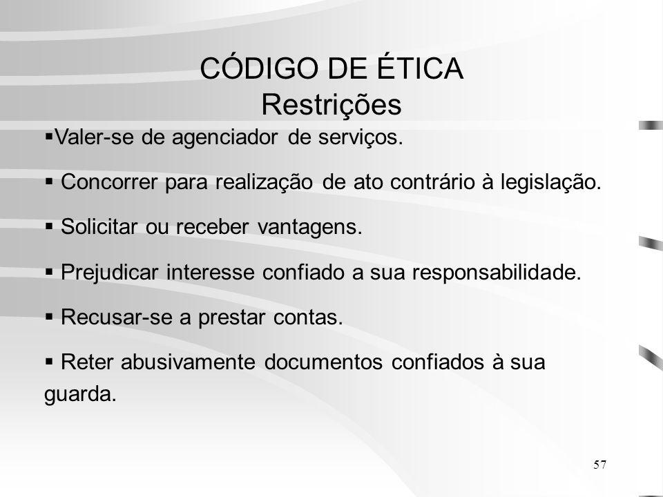 CÓDIGO DE ÉTICA Restrições
