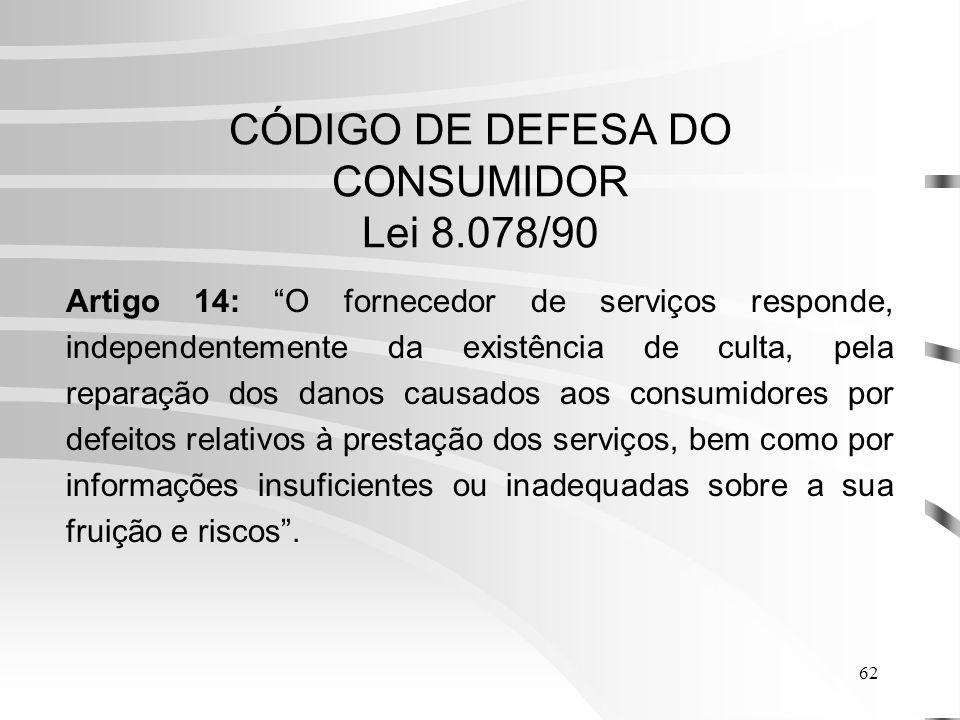 CÓDIGO DE DEFESA DO CONSUMIDOR Lei 8.078/90