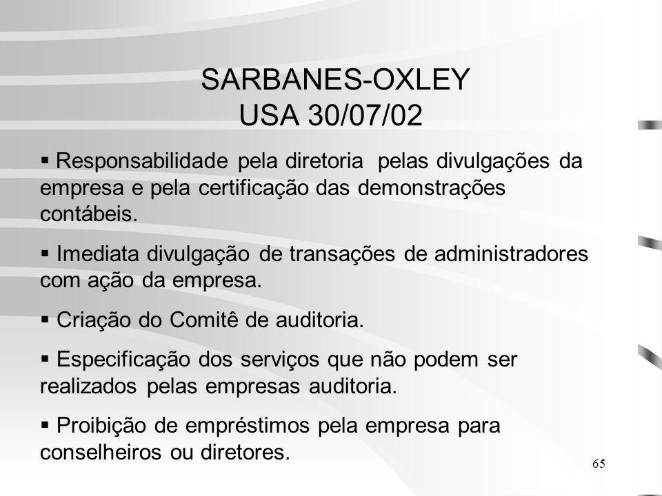 SARBANES-OXLEY USA 30/07/02 Responsabilidade pela diretoria pelas divulgações da empresa e pela certificação das demonstrações contábeis.
