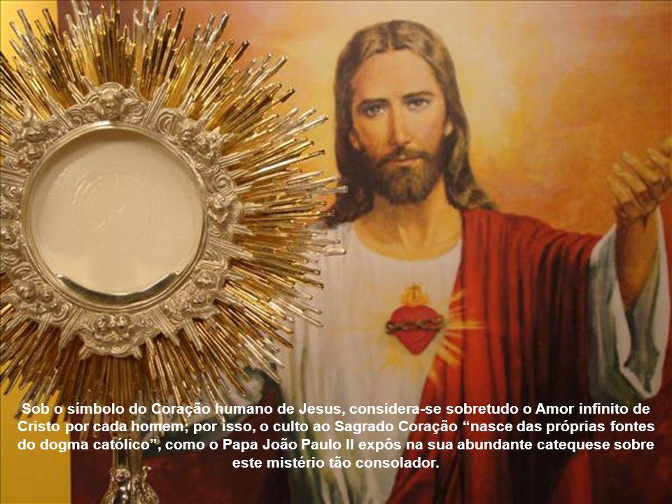 Sob o símbolo do Coração humano de Jesus, considera-se sobretudo o Amor infinito de Cristo por cada homem; por isso, o culto ao Sagrado Coração nasce das próprias fontes do dogma católico , como o Papa João Paulo II expôs na sua abundante catequese sobre este mistério tão consolador.