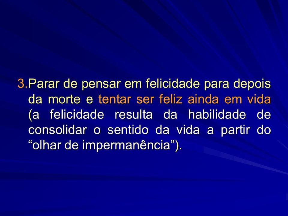 3.Parar de pensar em felicidade para depois da morte e tentar ser feliz ainda em vida (a felicidade resulta da habilidade de consolidar o sentido da vida a partir do olhar de impermanência ).