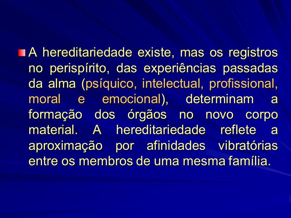 A hereditariedade existe, mas os registros no perispírito, das experiências passadas da alma (psíquico, intelectual, profissional, moral e emocional), determinam a formação dos órgãos no novo corpo material.